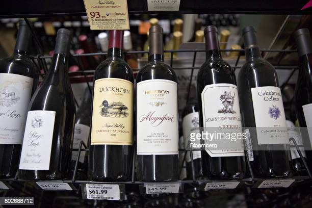 A bottle of Constellation Brands Inc Franciscan Estate wine center sits on display for sale at a liquor store in Ottawa Illinois US on Tuesday June...