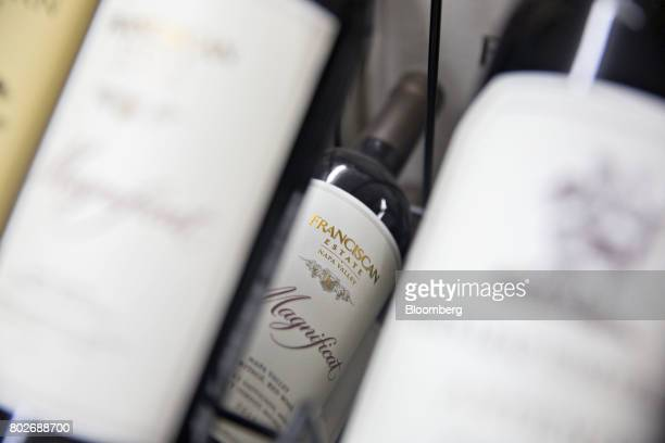 A bottle of Constellation Brands Inc Franciscan Estate wine sits on display for sale at a liquor store in Ottawa Illinois US on Tuesday June 27 2017...