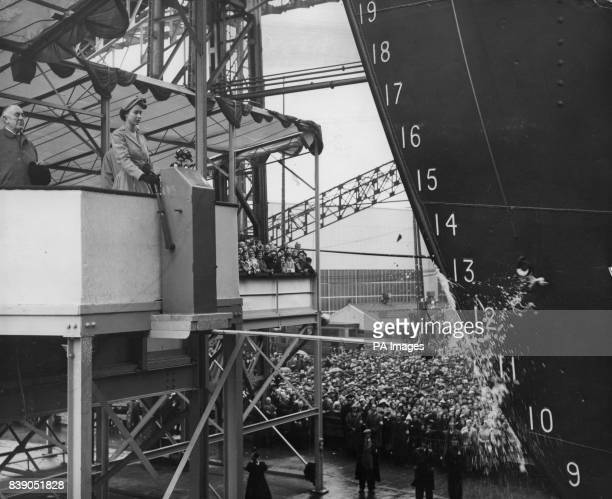A bottle of Empire champagne shatters against the new Shaw Savill liner Southern Cross at the launch by Queen Elizabeth II