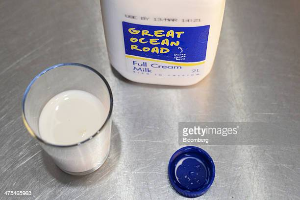 A bottle of Great Ocean Road branded milk produced by Warrnambool Cheese Butter Factory Co is arranged for a photograph with a glass of milk in...
