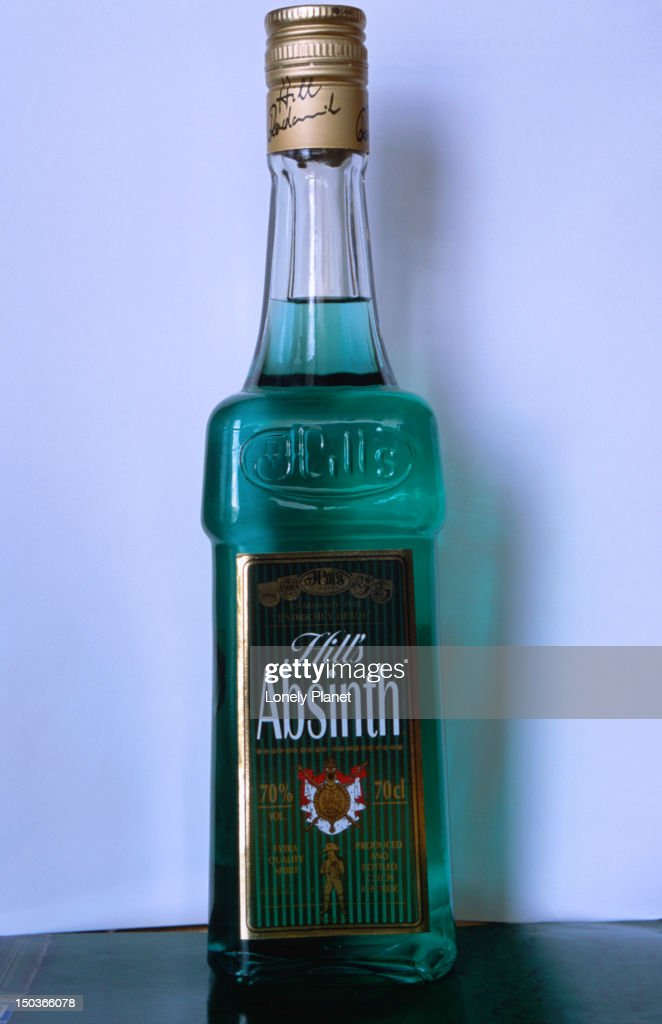 A bottle of Hill's absinthe produced in the Bohemian town of Jindrvuc Hradec. It has undertones of fennel and mint with less aniseed than is its French counterparts.
