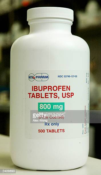 A bottle of Ibuprofen is displaced August 19 2003 at a pharmacy of the Woodbridge Medical Center in Woodbridge Virginia Latest research showed that...