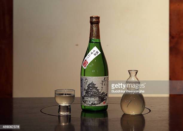 A bottle of Japanese sake called Hana no Kazumi no Utsunigori is arranged for a photograph during the first day of sake production at NadagikuShozo...