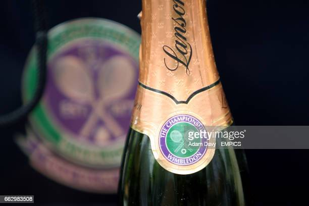 A bottle of lanson champagne displays the Wimbledon logo