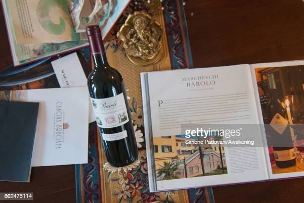 A bottle of Marchesi di Barolo is seen on October 17 2017 in the Barolo region Italy Because of the high summer temperatures Barolo's harvest has...