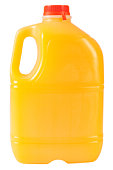 Plastic bottle full of orange juice. Clipping path included.