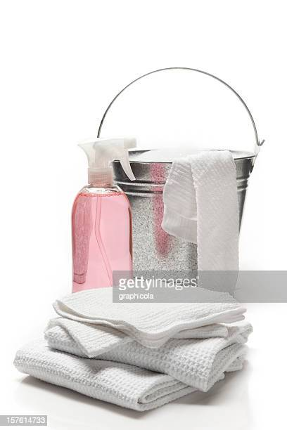Bottle of pink cleaning product