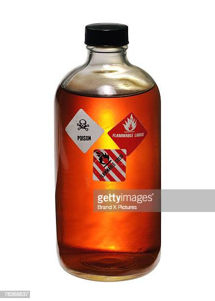 Bottle of poisonous flammable liquid
