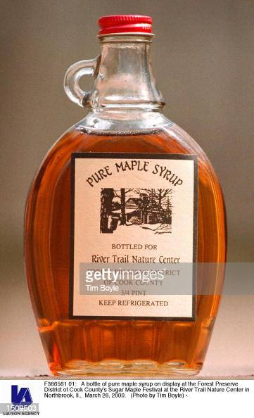 A bottle of pure maple syrup on display at the Forest Preserve District of Cook County's Sugar Maple Festival at the River Trail Nature Center in...