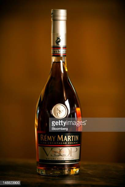 A bottle of Remy Martin VSOP Mature Cask Finish Cognac is arranged for a photograph at the Remy Cointreau SA headquarters in Cognac France on...