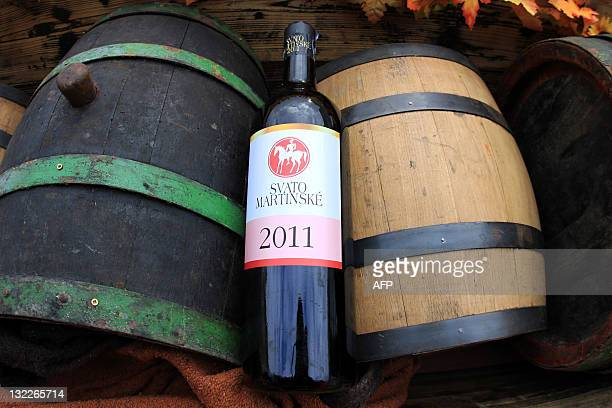 A bottle of Saint Martin wine is pictured in Brno South Moravia during the Saint Martin Wine festival on November 11 2011 The tradition of St Martin...