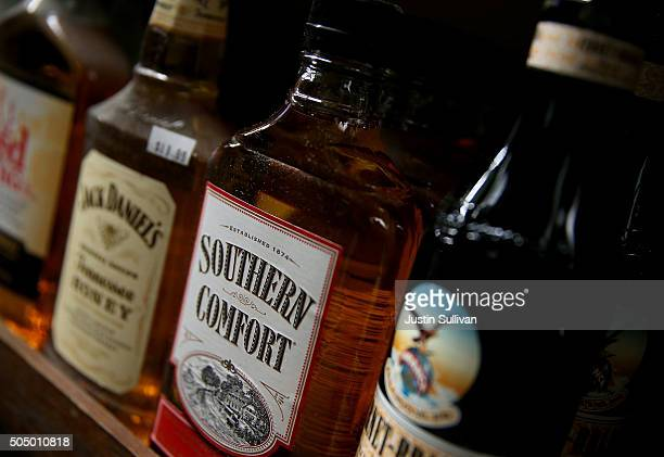 A bottle of Southern Comfort whiskey is displayed on a shelf at a liquor store on January 14 2016 in San Anselmo California BrownForman Corp...