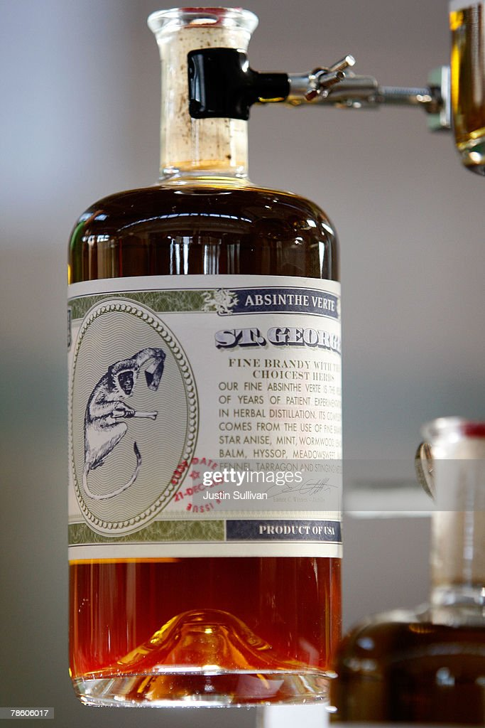 A bottle of St George Absinthe Verte is displayed at St George Spirits December 21 2007 in Alameda California St George Spirits became the first...