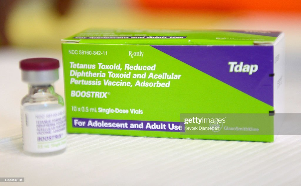 A bottle of the whooping cough vaccine, Boostrix, sits in the nurse's office at Mark Twain Middle School August 7, 2012 in Los Angeles, California. The boosters, also called Tdap shots, are required of all seventh graders before they can start school. The Los Angeles Unified School District is offering free shots at various clinics in the city to help students make the deadline before school starts on August 14.