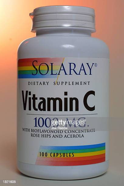 A bottle of Vitamin C which is widely touted as cancer preventive is on display June 15 2001 in Miami FL In a test tube study reported by the Journal...