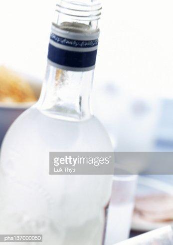 Bottle of Vodka, close-up.