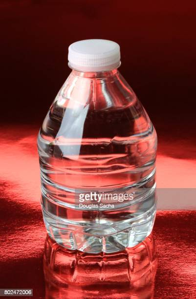 Bottle of Water on a red background