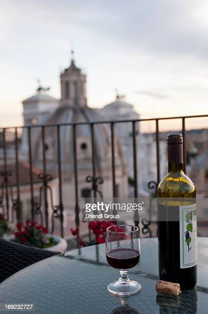 Bottle of wine and rooftop terrace view