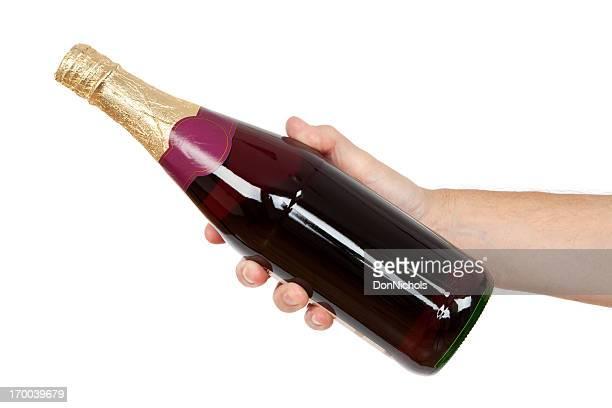 Flasche Wein in der Hand