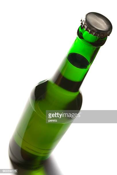 bottle with beer - top view