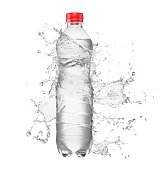 Blank plastic bottle with water splash isolated on white background