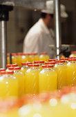 Bottled orange juice on moving production line