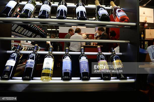Bottles are pictured at a stand of the Vinexpo wine fest in Bordeaux on June 15 2015 Released in France's wine capital Bordeaux at the kickoff of the...