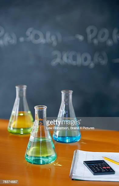 Bottles arranged for science experiment