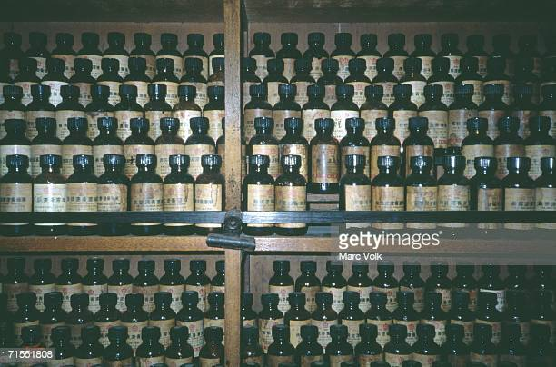 Bottles in pharmacy selling Chinese medicine, Malacca, Malaysia