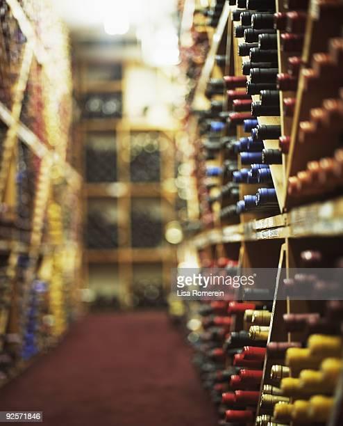 Bottles in wine shop