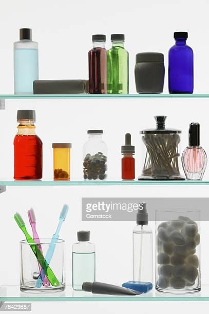 Bottles inside medicine cabinet