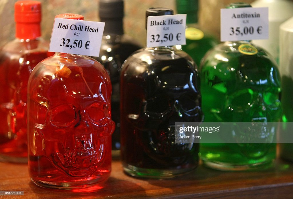 Bottles of 89 percent alcohol absinthe in the shape of skulls are seen at the Absinth Depot shop on March 15, 2013 in Berlin, Germany. The highly alcoholic drink absinthe was banned in much of Europe during World War I, and only in recent years became once again legal, finding its way back into bars and shops. Meanwhile the European Parliament is divided on its vote on the European Commission's attempt to standardize the definition of the drink by deciding if and how much of the two substances anethole and the chemical thujone, a toxin extracted from wormwood, which has given the drink its reputation for producing mind-altering effects, must be contained within it to officially classify versions of the 'green fairy,' as it is also known, with the absinthe name.