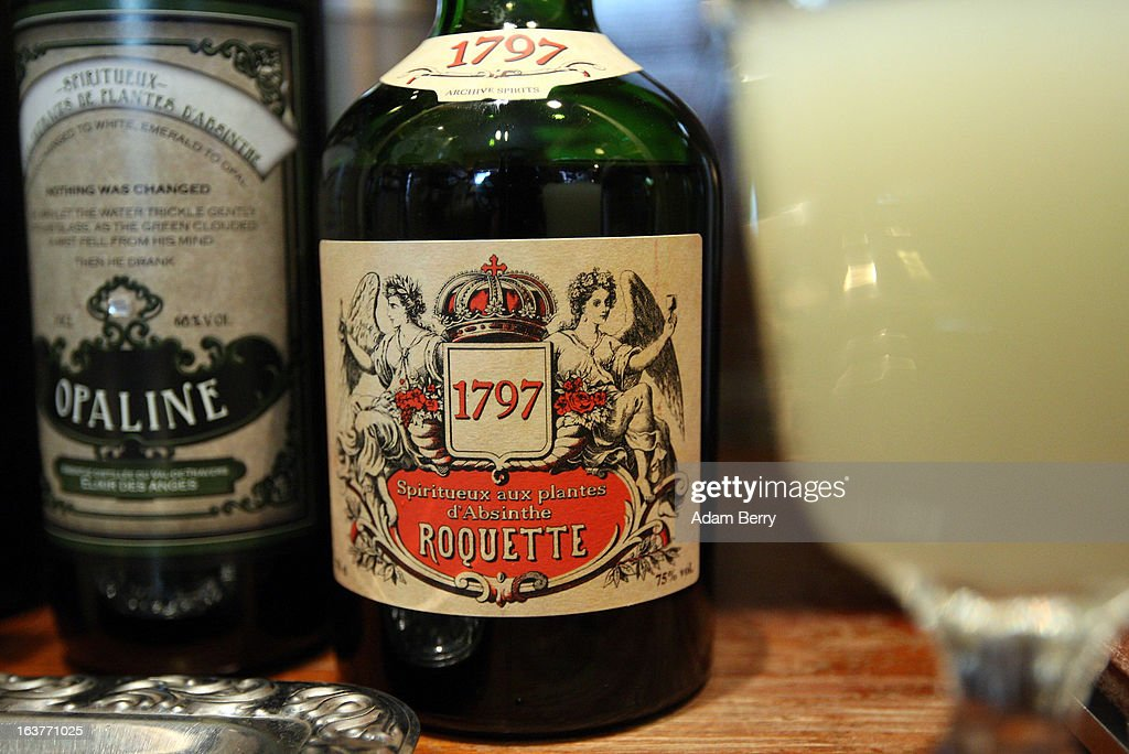 Bottles of absinthe sit next to a prepared glass of the drink at the Absinth Depot shop on March 15, 2013 in Berlin, Germany. The highly alcoholic drink absinthe was banned in much of Europe during World War I, and only in recent years became once again legal, finding its way back into bars and shops. Meanwhile the European Parliament is divided on its vote on the European Commission's attempt to standardize the definition of the drink by deciding if and how much of the two substances anethole and the chemical thujone, a toxin extracted from wormwood, which has given the drink its reputation for producing mind-altering effects, must be contained within it to officially classify versions of the 'green fairy,' as it is also known, with the absinthe name.