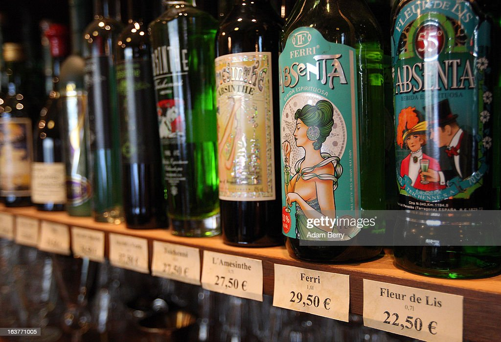 Bottles of absinthe sit on a shelf for sale at the Absinth Depot shop on March 15, 2013 in Berlin, Germany. The highly alcoholic drink absinthe was banned in much of Europe during World War I, and only in recent years became once again legal, finding its way back into bars and shops. Meanwhile the European Parliament is divided on its vote on the European Commission's attempt to standardize the definition of the drink by deciding if and how much of the two substances anethole and the chemical thujone, a toxin extracted from wormwood, which has given the drink its reputation for producing mind-altering effects, must be contained within it to officially classify versions of the 'green fairy,' as it is also known, with the absinthe name.