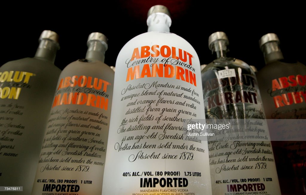 Bottles of Absolut Vodka are displayed at the Jug Shop March 2 2007 in San Francisco California The government of Sweden which has owned the Swedish...