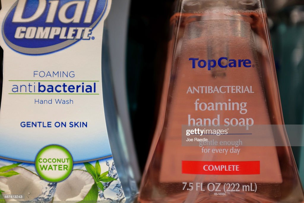 Bottles of antibacterial soap are seen on a grocery store shelf on December 17, 2013 in Miami, Florida. The Food and Drug Administration announced that manufacturers of antibacterial hand soap and body wash will be required to prove their products are more effective than plain soap and water in preventing illness and the spread of infection.