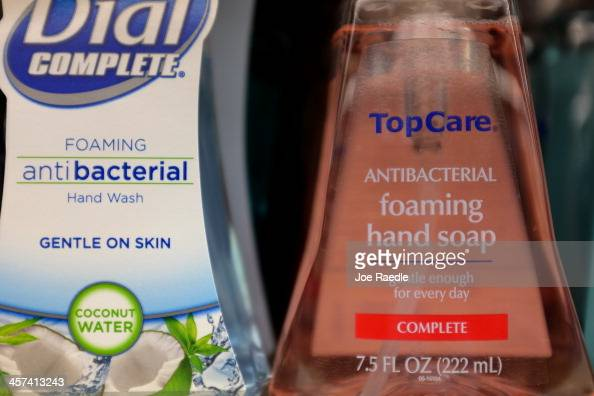 Bottles of antibacterial soap are seen on a grocery store shelf on December 17 2013 in Miami Florida The Food and Drug Administration announced that...