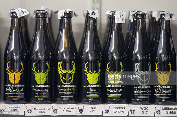 Bottles of beer at the Wild Beer Co are displayed at Lower Westcombe Farm on February 11 2016 near Evercreech England Over recent years there has...