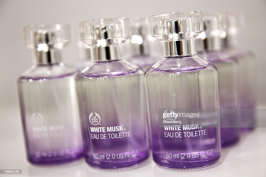 Bottles of Body Shop White Musk Eau de Toilette are seen on display at a store in Paris, France, on Wednesday, Nov. 21, 2012. Body Shop International Plc Chief Executive Officer Sophie Gasperment has introduced organic lines and updated products like Hemp Hand Protector with Community Fair Trade ingredients after L'Oreal, the world's largest maker of cosmetics, bought the company in 2006. Photographer: Balint Porneczi/Bloomberg via Getty Images