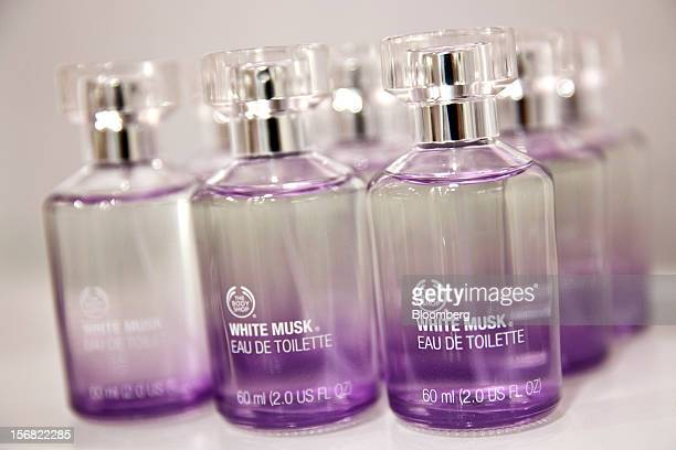 Bottles of Body Shop White Musk Eau de Toilette are seen on display at a store in Paris France on Wednesday Nov 21 2012 Body Shop International Plc...