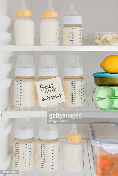 Bottles of breast milk in refrigerator