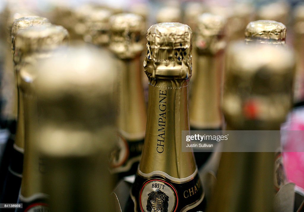Bottles of champagne are seen on display at a Costco store December 29 2008 in South San Francisco California As the economy continues to falter...