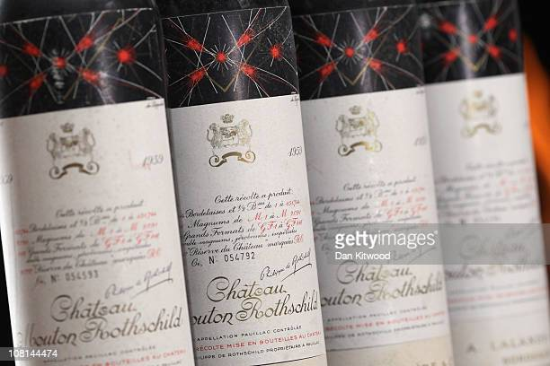 Bottles of Chateau Mouton Rothschild 1959 are displayed on January 19 2011 in London England The forthcoming sale of 'Finest and Rarest Wines Vintage...