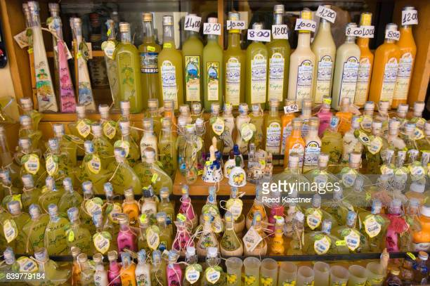 Bottles of citrus products for sale in Capri, Italy
