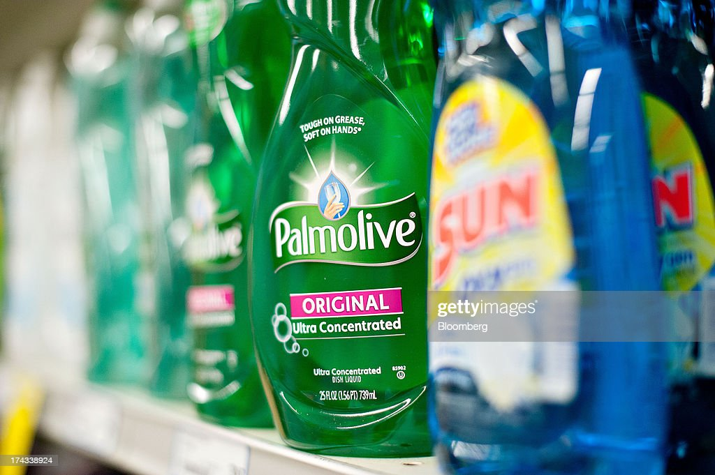 Bottles of Colgate-Palmolive Co. Palmolive brand dishwashing liquid are displayed for sale on a supermarket shelf in Princeton, Illinois, U.S., on Tuesday, July 23, 2013. Colgate-Palmolive is scheduled to release second-quarter earnings on July 25. Photographer: Daniel Acker/Bloomberg via Getty Images