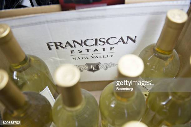 Bottles of Constellation Brands Inc Franciscan Estate wine sit on display for sale at a liquor store in Ottawa Illinois US on Tuesday June 27 2017...