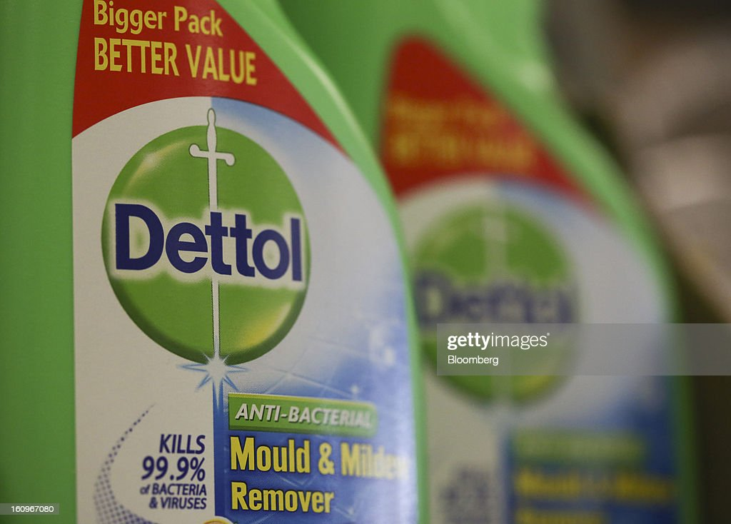 Bottles of Dettol disinfectant, produced by Reckitt Benckiser Group Plc, sit on display inside a supermarket in London, U.K., on Friday, Feb. 8, 2013. Britain's economy will grow more slowly this year than previously forecast and stagnation may persist, according to the National Institute of Economic and Social Research. Photographer: Chris Ratcliffe/Bloomberg via Getty Images