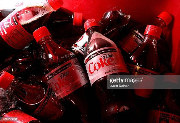 Bottles of Diet Coke are chilled in a cooler before the start of the baseball game with the San Francisco Giants and the Atlanta Braves at ATT Park...