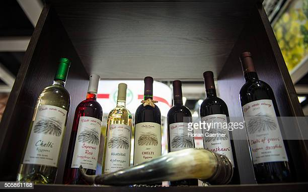 Bottles of different varieties of red and white wine are shown on January 19 2016 in Berlin Germany