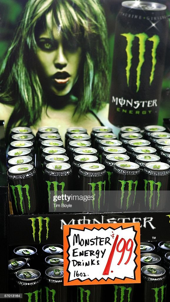 Bottles of energy drink, Monster, lie on display at a market March 6, 2006 in Des Plaines, Illinois. A new study reportedly links sugary sodas and drinks to the obesity epidemic.